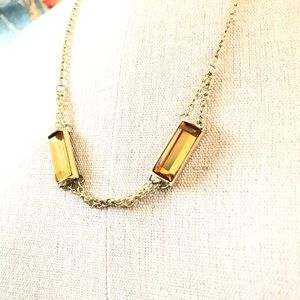 BANANA REPUBLIC gold tone & yellow glass necklace